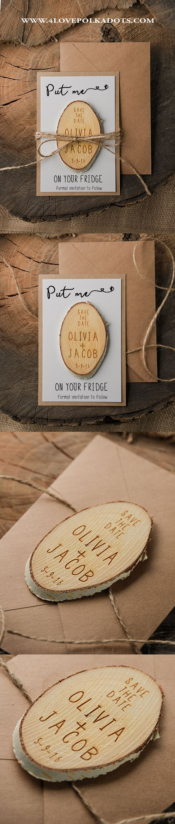 Please Save the Date! Rustic Save the Date Cards with Wooden Magnets ...