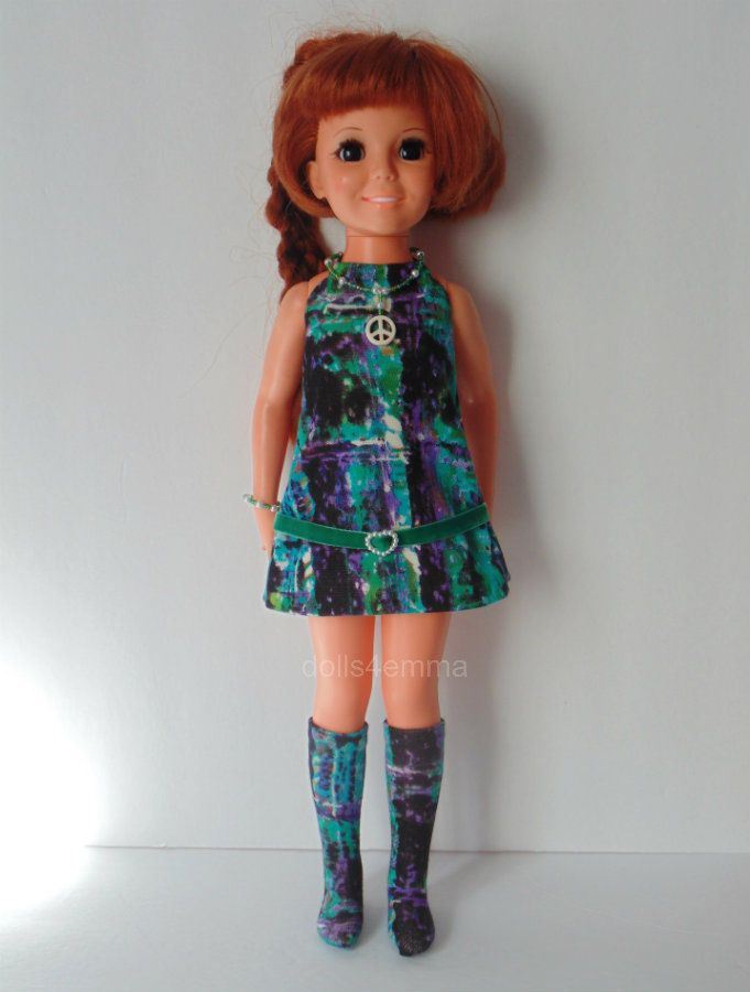 'ABSTRACT' - Mod Dress, matching Boots, Peace Necklace and Bracelet for Crissy - available on Ebay - by dolls4emma $16.99