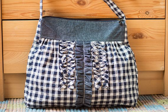 White blue checked linen frills shoulder bag handbag by SomBags