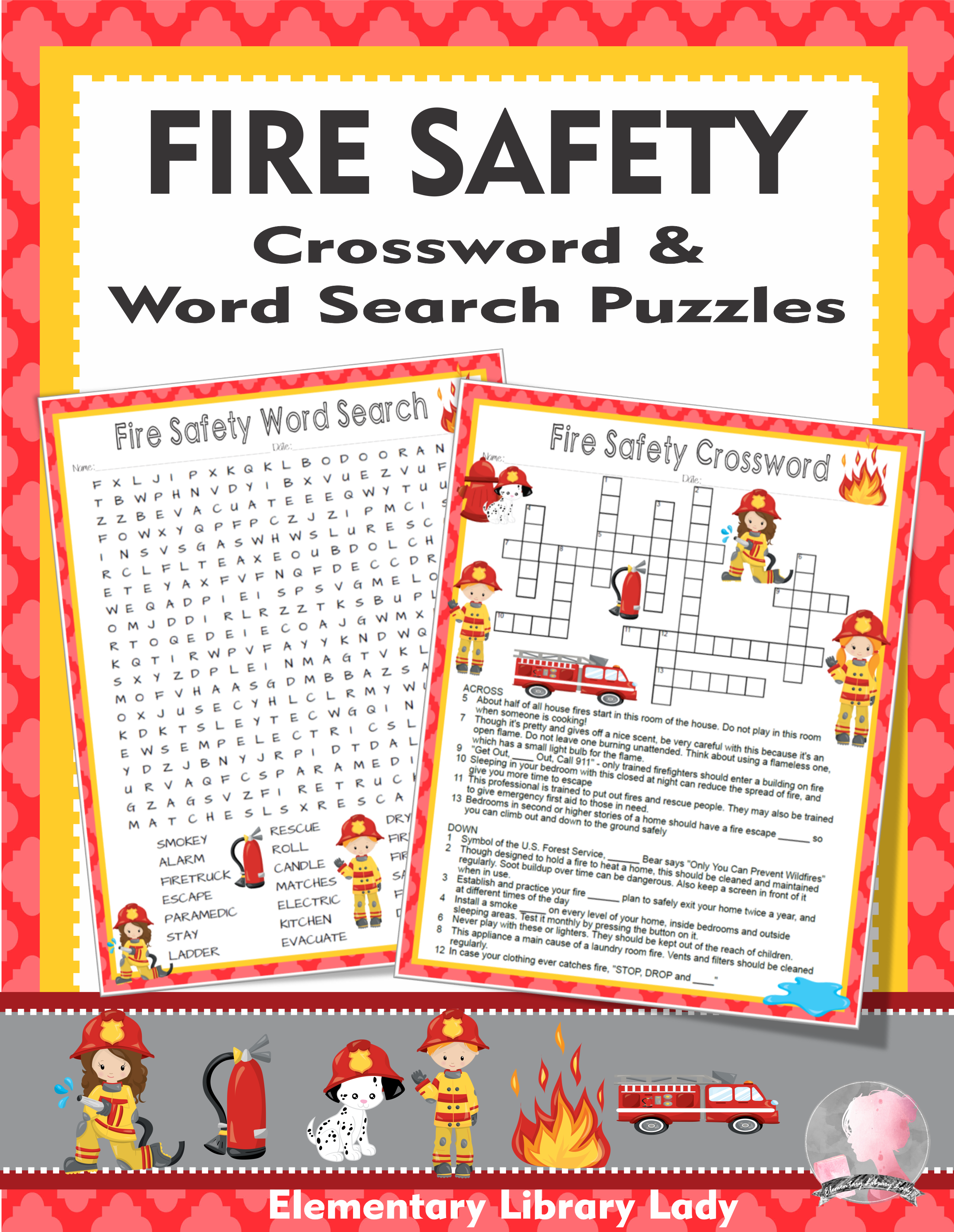 Fire Safety Activities Crossword Puzzle And Word Searches