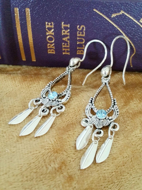 Blue Crystal Chandelier Earrings Light Swarovski Dangle Renaissance Silver Filigree