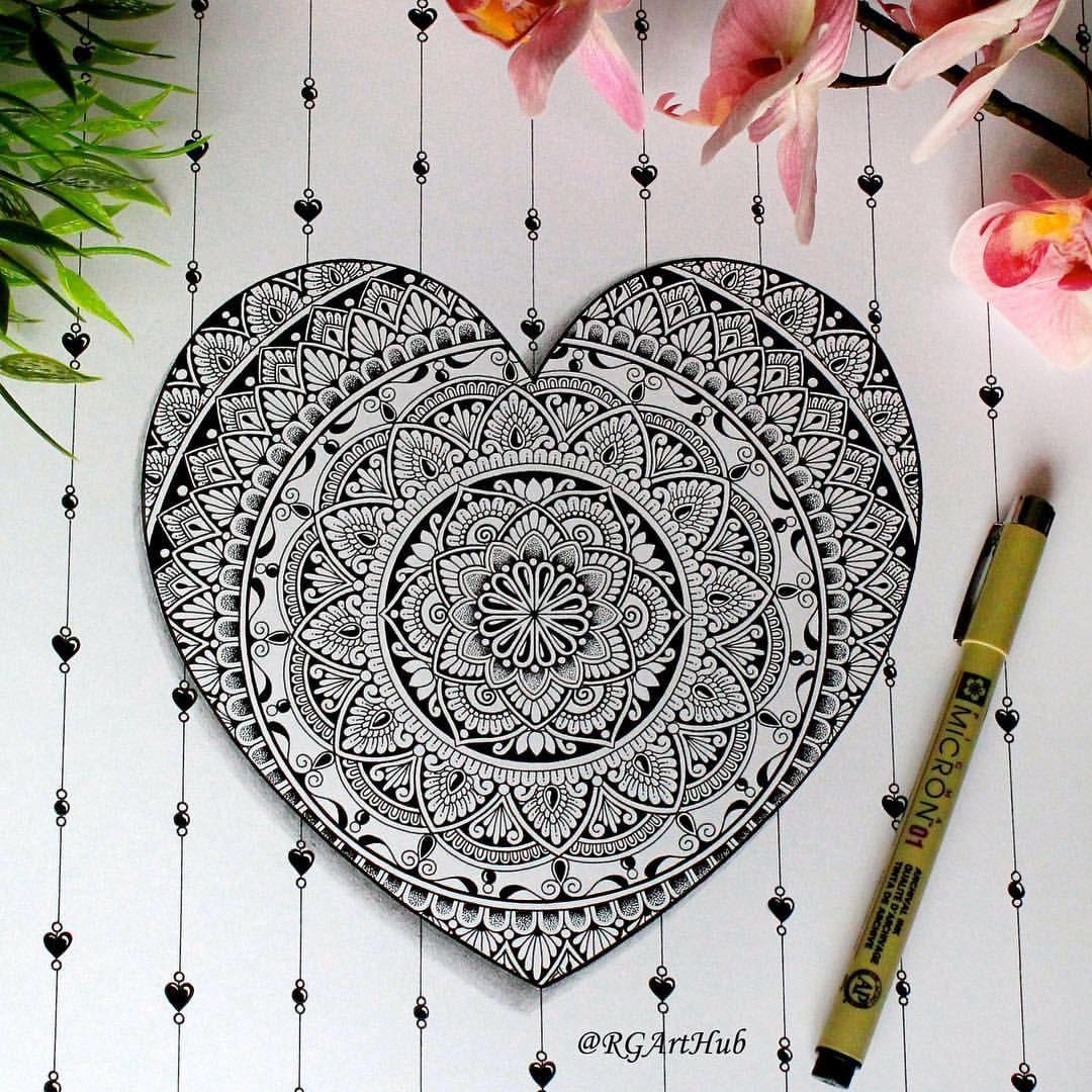 Heart Mandala Mandala Tattoo Design Mandala Design Art Doodle Art Designs