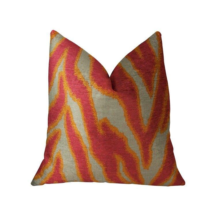 Plutus Brands Fuchsia Fire Fuchsia Orange and Taupe Handmade Luxury Pillow - Plutus Brands - PBRAZ061-1616-DP