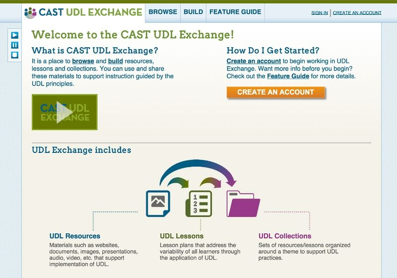 Screenshot of the CAST UDL Exchange home page Learning