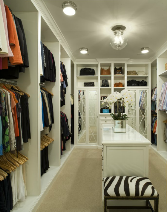 Contemporary Walk In Closet With Gray Bound Sisal Rug Mirrored Cabinet Doors