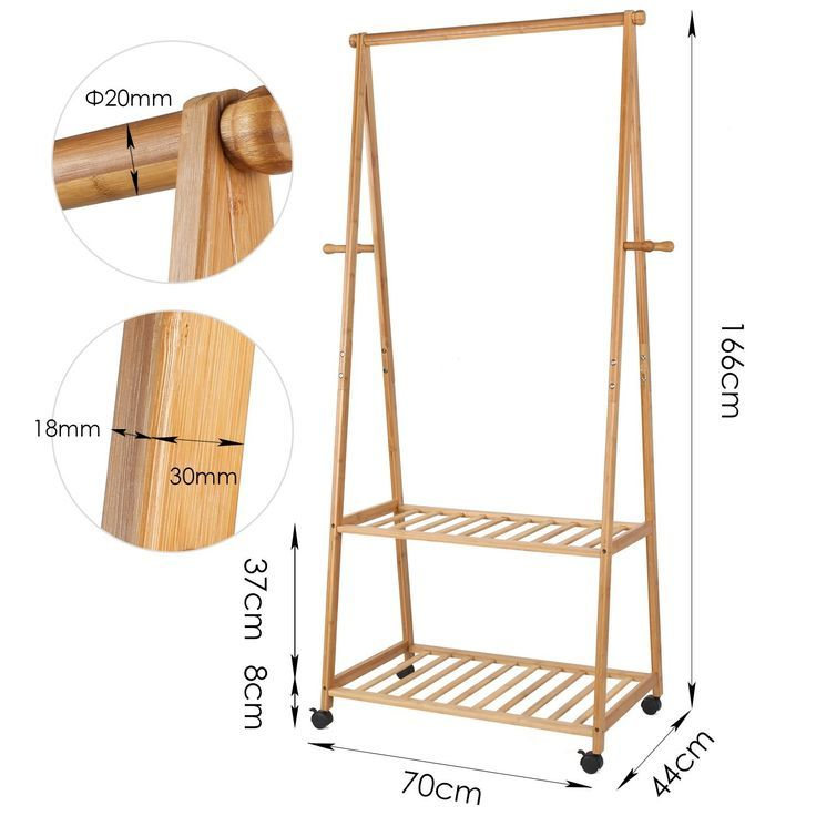Garment Rack Coat Hanging Rail Clothes Stand with Wheels Coat /& Shoes /& Hat Hook