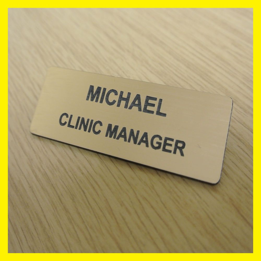 Quality Engraved Gold Name Badge - Staff Shop Bar Reception