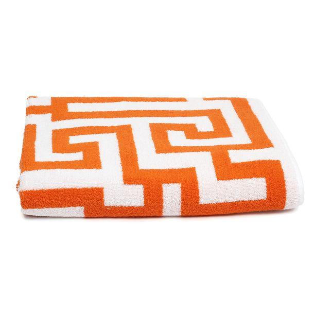 Mis Match Print But Same Color Towels Orange Geometric Lattice - Orange decorative towels for small bathroom ideas