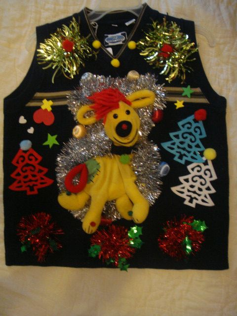 deb\u0027s tacky funny yellow dog red hair size small tree decoration by