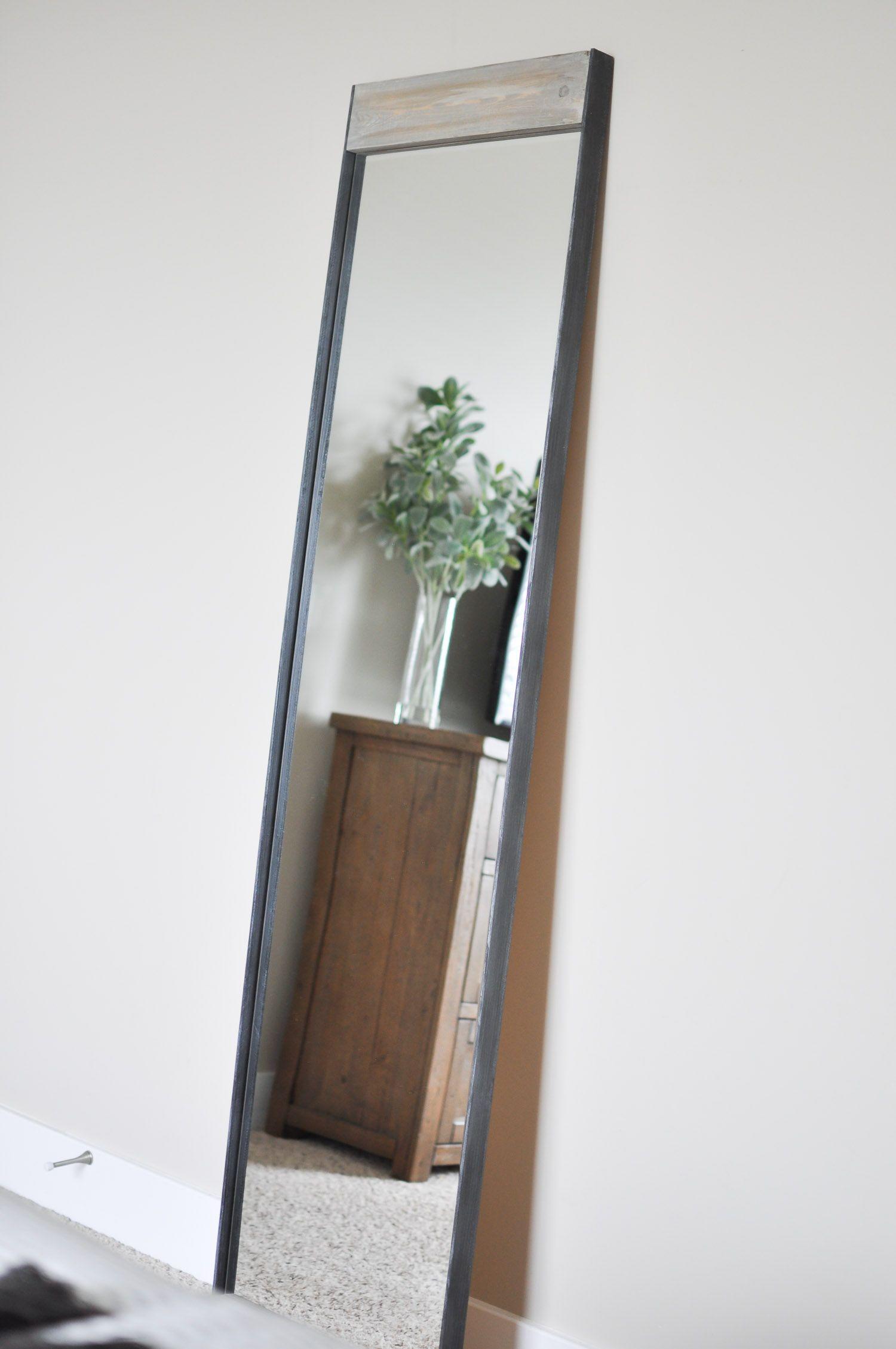 Industrial Metal And Wood Floor Mirror Tutorial Mirror Wall