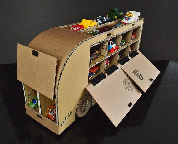 Toy Car Storage Truck Printable Cardboard Model Diy Pepic