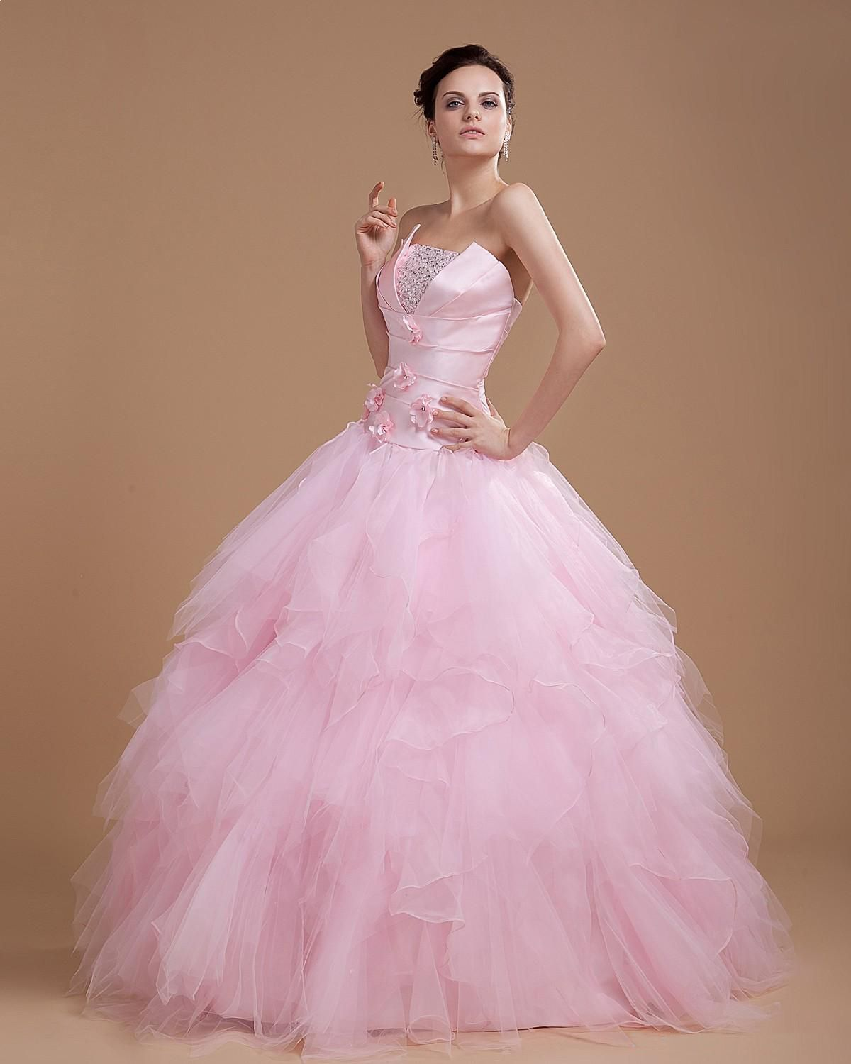 Organza Beading Strapless Floor Length Ball Gown Quinceanera Wedding ...