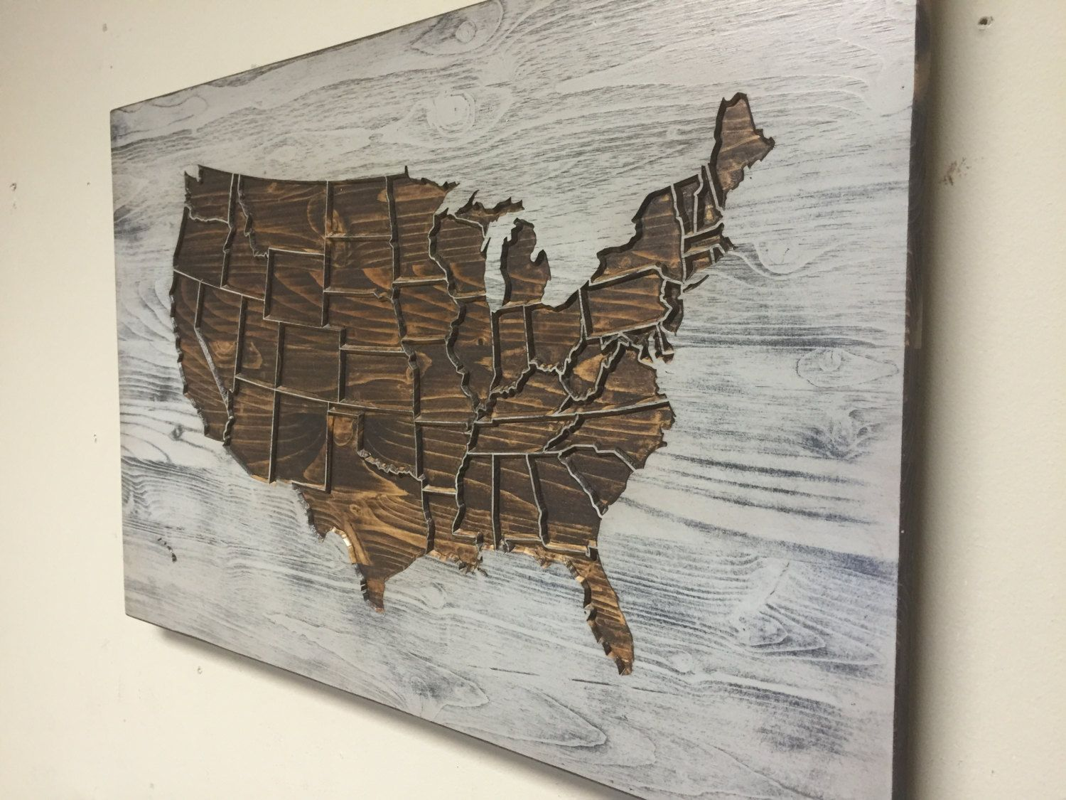 Rustic US Map Wall Art, Wood Carved, United States Map With States, Home