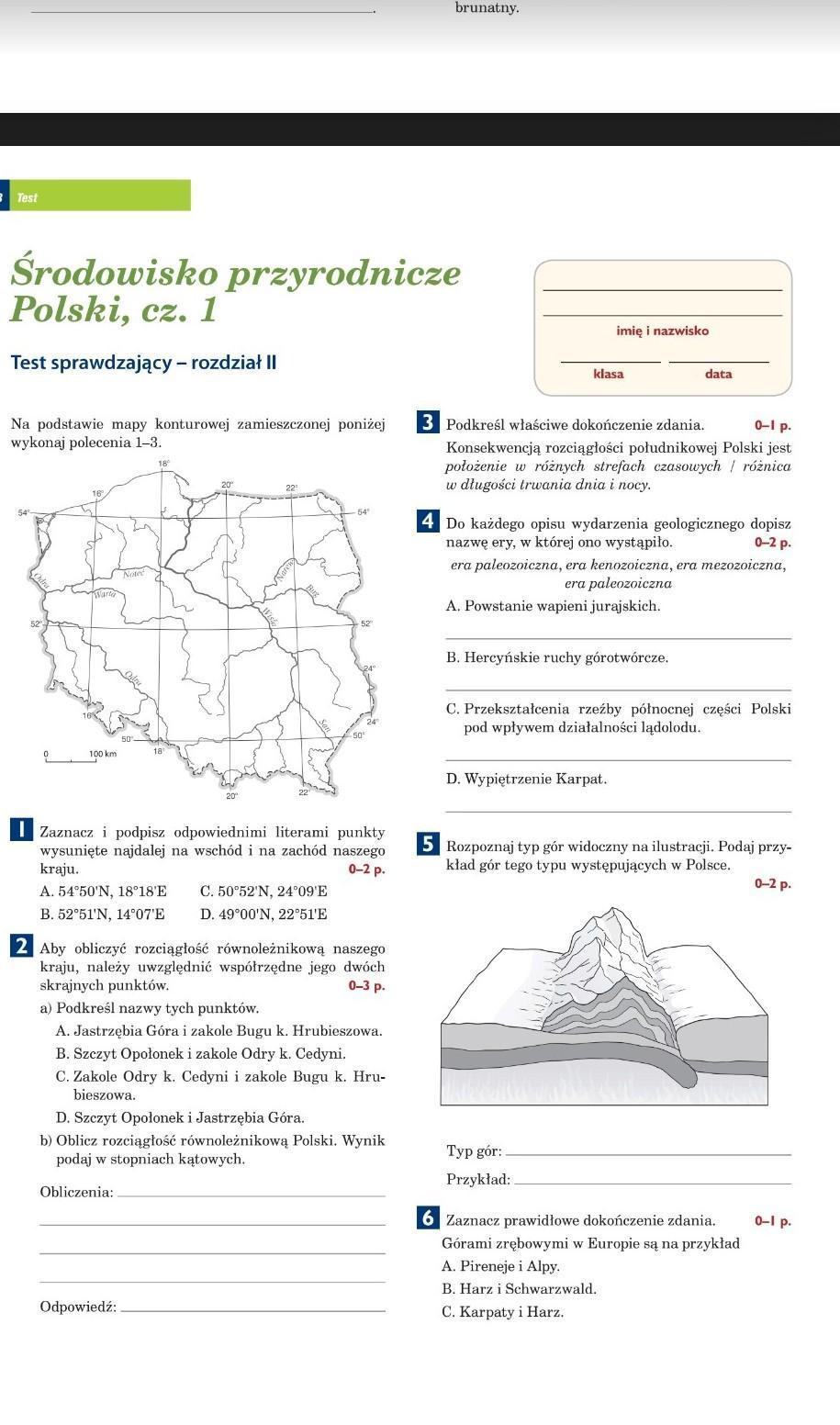 Czy Ktos Ma Link Do Geografii Klasa 7 Z Dzialu Srodowisko Przyrodnicze Polski Czesc 1 Ksiazka Planeta Brainly Pl Testy Map Map Screenshot