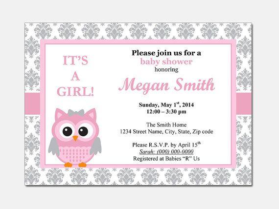 Owl Baby Shower Invitation - DIY Printable Custom Invitation baby - baby shower invitation templates for microsoft word