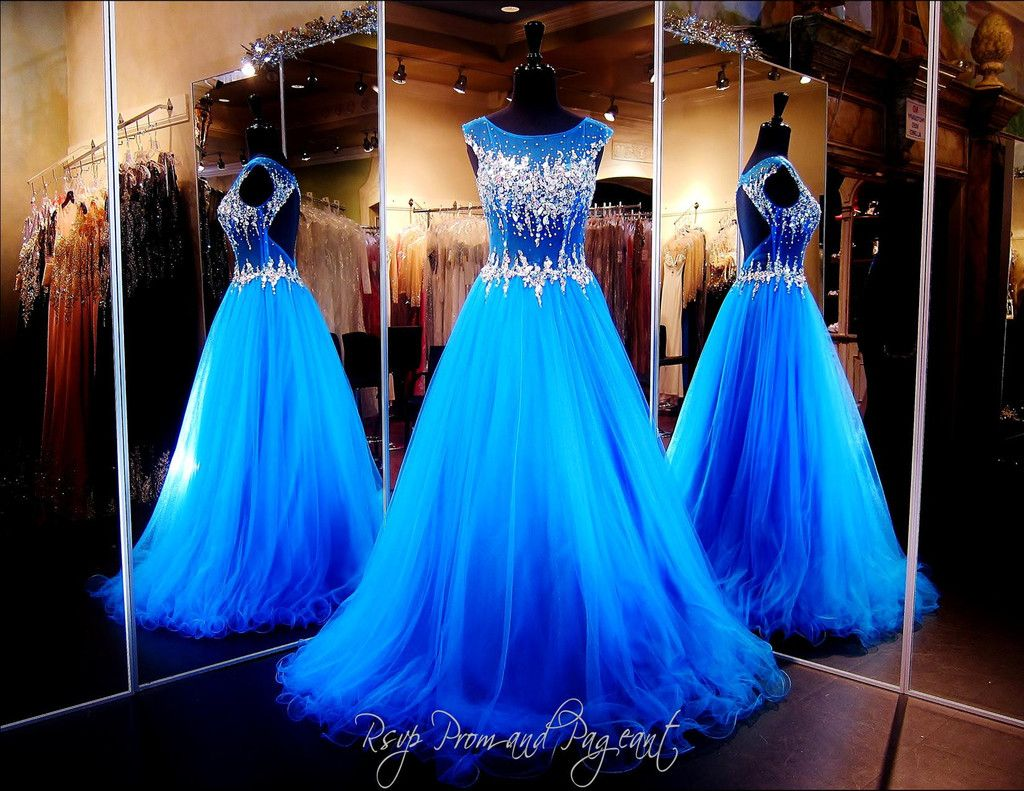 Blue mermaid prompageant dress with sparkling crystal beading