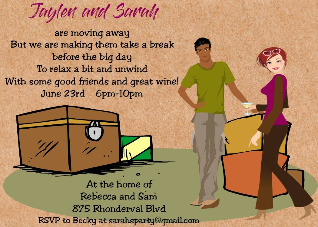interracial black and white farewell party invitation moving party ...