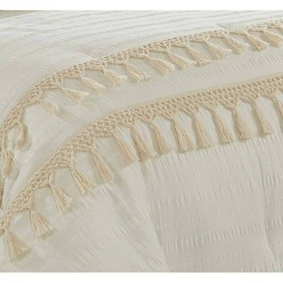 Twin/Twin XL Floral & Fringe Comforter Set Off-White - Heritage Club