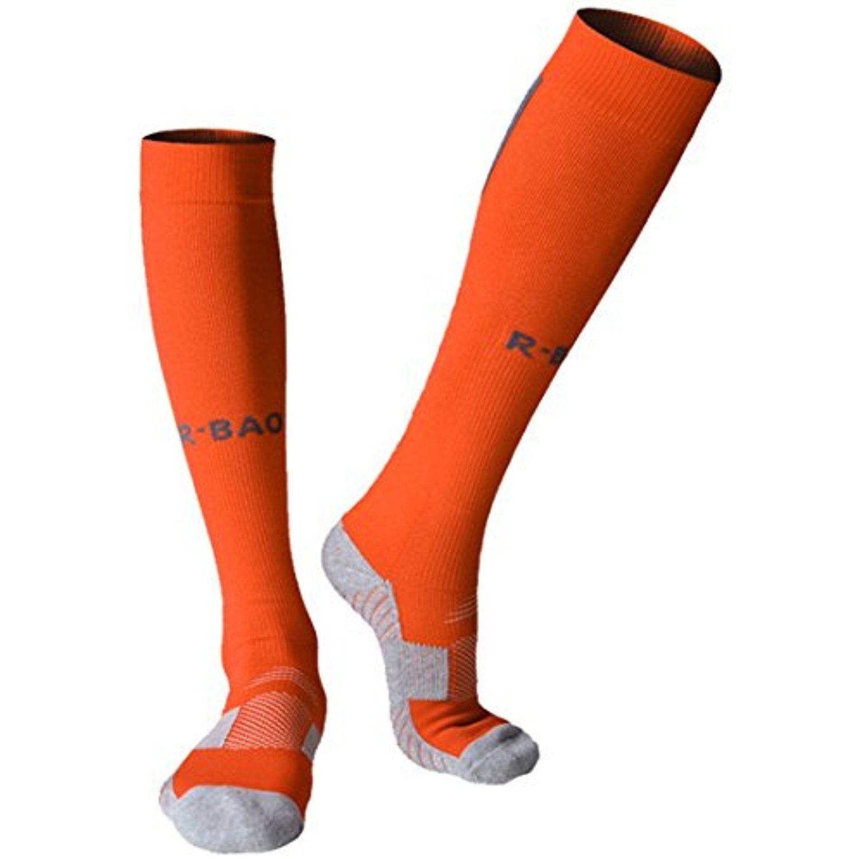 Kids Cotton Sport Football Soccer Plain Long Calf Support Socks Baseball Hockey