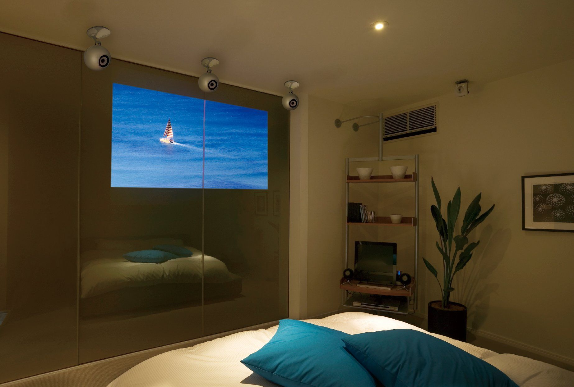Cool Speakers For Bedroom Eclipse Td 5 Series Speakers And Mirrored Tv Make For Cool Bedroom