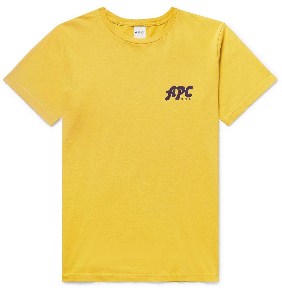 A P C Logo Print Cotton Jersey T Shirt Mens Tshirts Mens Designer Fashion Mens Shirts
