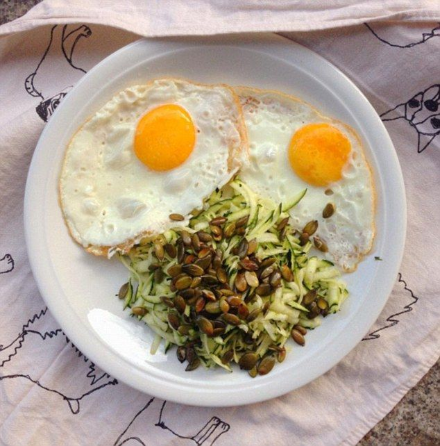 The up-side of the 80/20 rule...Melissa Hemsley's weekend food diary included fried eggs in butter...(version here pictured with a courgette salad)