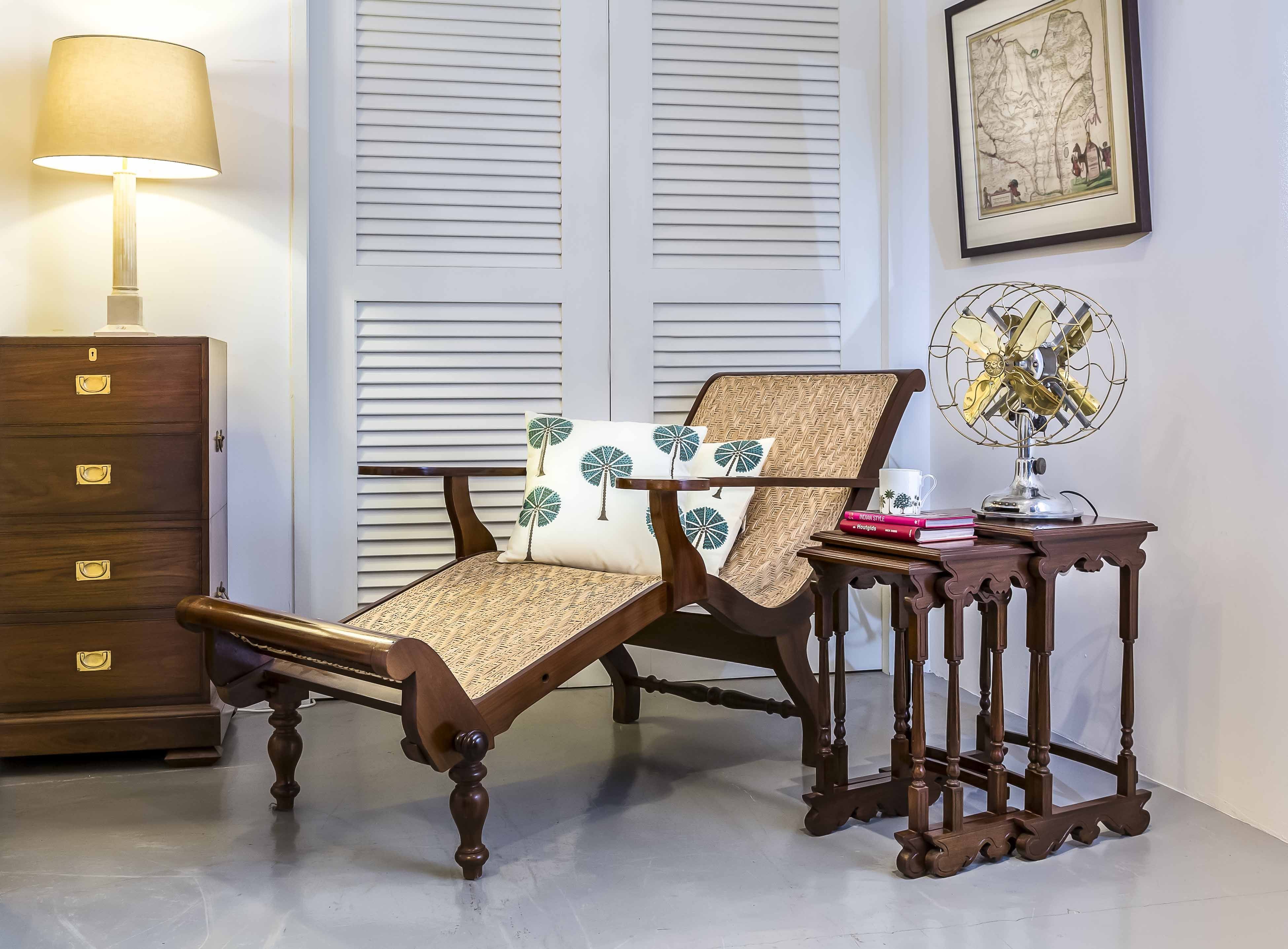British Colonial Teakwood Easy Chair And Nest Of Tables