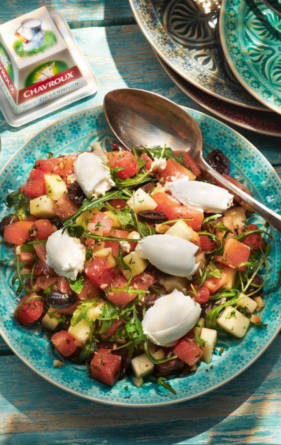 Wassermelonensalat mit Chavroux #melonrecipes