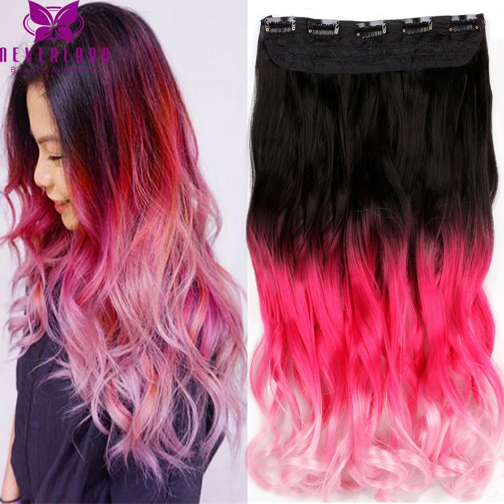 New arrival 20 50 55cm long wavy curly clip in hair extensions new arrival 20 50 55cm long wavy curly clip in hair extensions pink ombre pmusecretfo Choice Image