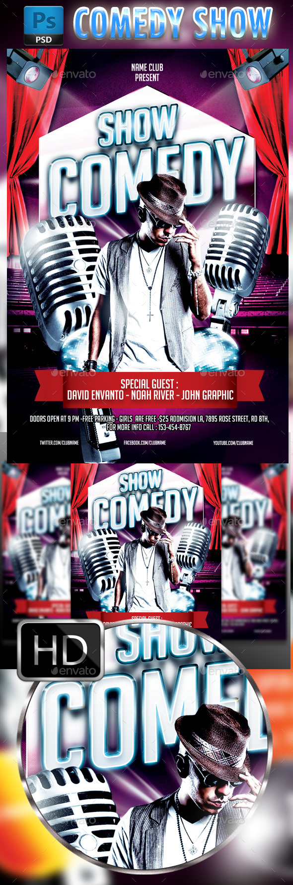 Comedy Show Flyer Template  Flyer Template Template And Flyer
