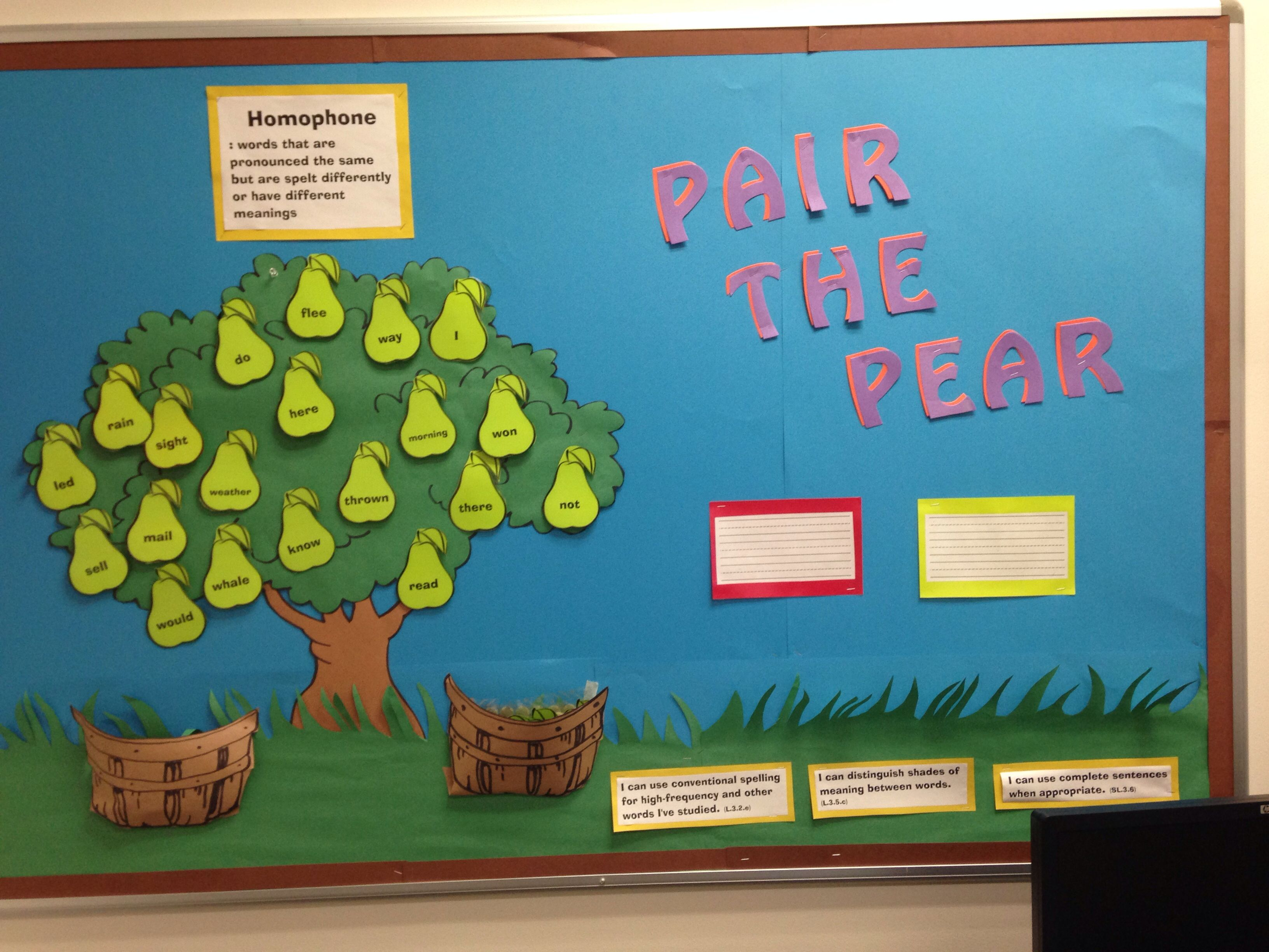 Classroom Interactive Ideas : Pair the pear interactive bulletin board about homophones