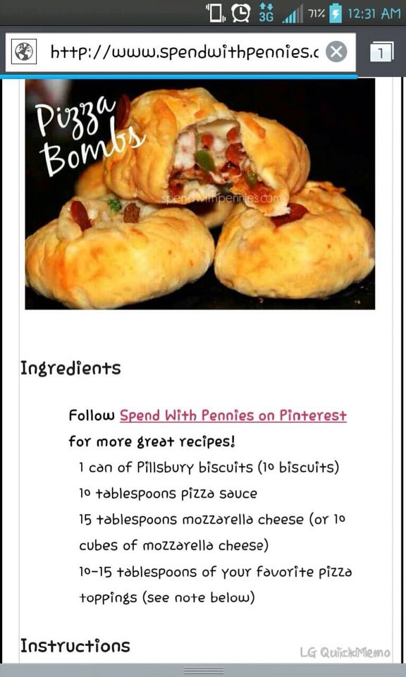 Pizza Bombers!! Made these and Yummy is all I can say!!!