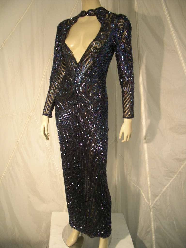 1970s Bob Mackie Oil Slick Sequined and Beaded Gown on Net | From a ...