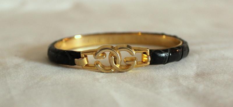 a550105f3 vintage GUCCI Snake Skin SNAKESKIN GG logo BANGLE Bracelet 24k ITALY #Gucci  #Bangle Vintage