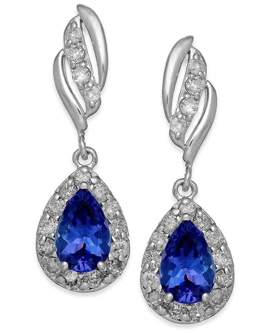 Tanzanite (3/4 ct. t.w.) and Diamond (1/3 ct. t.w.) Drop Earrings in 14k White Gold