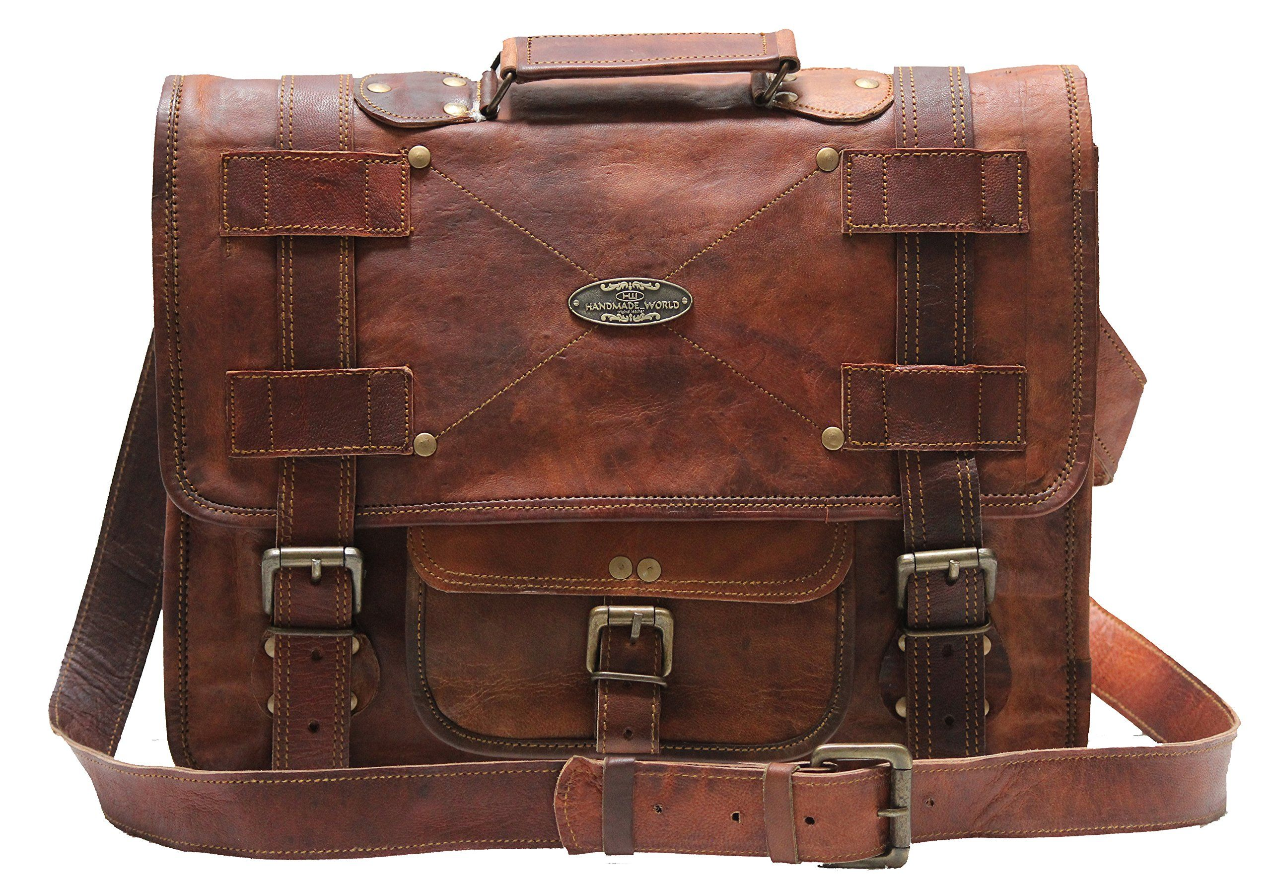 Handmade World Leather Messenger Bags For Men Women Mens Briefcase Laptop Bag Best Computer Shoulder Satchel School Distressed 13 X 18