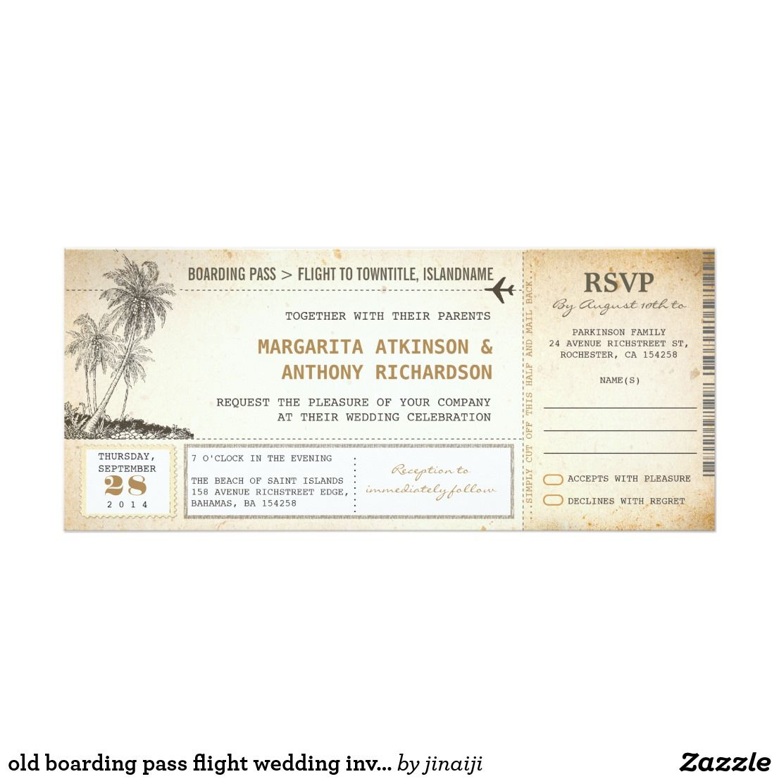 old boarding pass flight wedding invites with RSVP old aged vintage ...