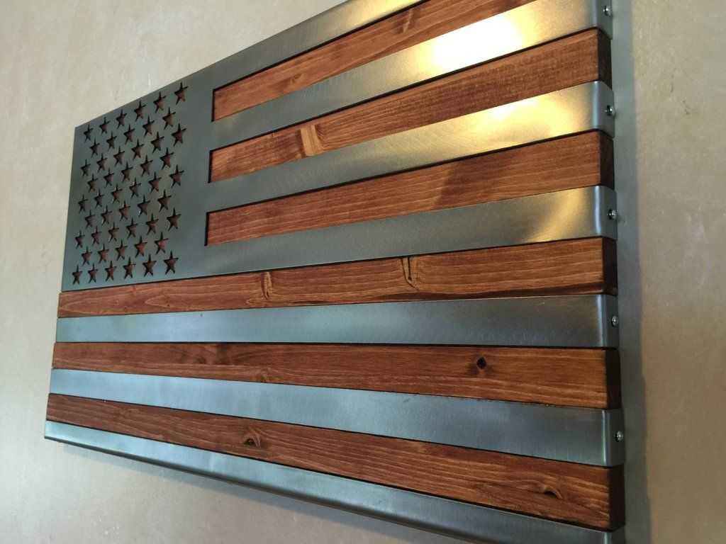 8ecbe3fc9067 Hand Oiled Pine and Polished Steel US Flag