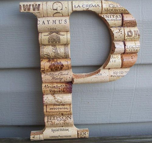 Wine Cork Wedding Decorations: Wine Cork Letter Initial Monogram P~Custom Hand Made Home