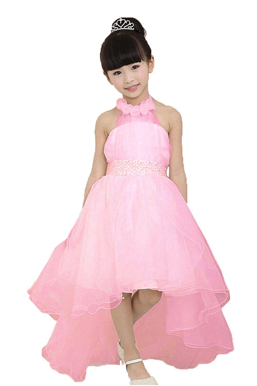 Honey qiao halter flower girl dress sash bowknot elegant hilo