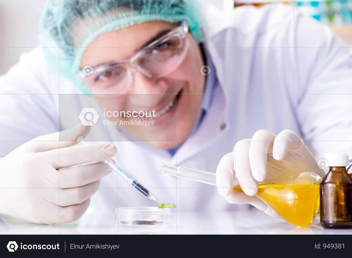 Premium Pharmaceutical Industry Concept With Scientist In