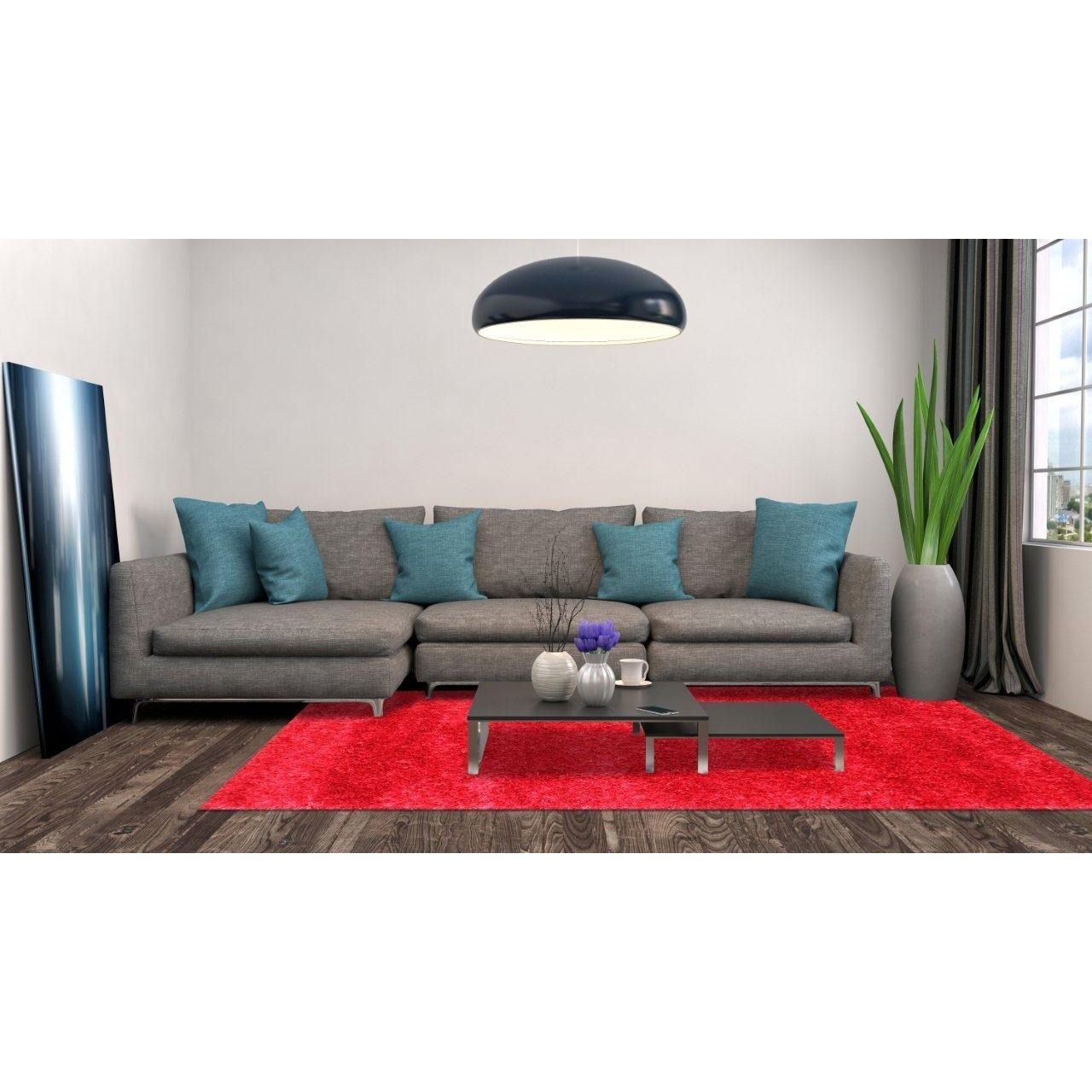 rug for living room size%0A The Alliyah Beautifully Handcrafted European Elegance Red Modern Shag Rug     u     x
