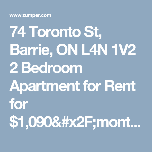 74 Toronto St, Barrie, ON L4N 1V2 2 Bedroom Apartment For