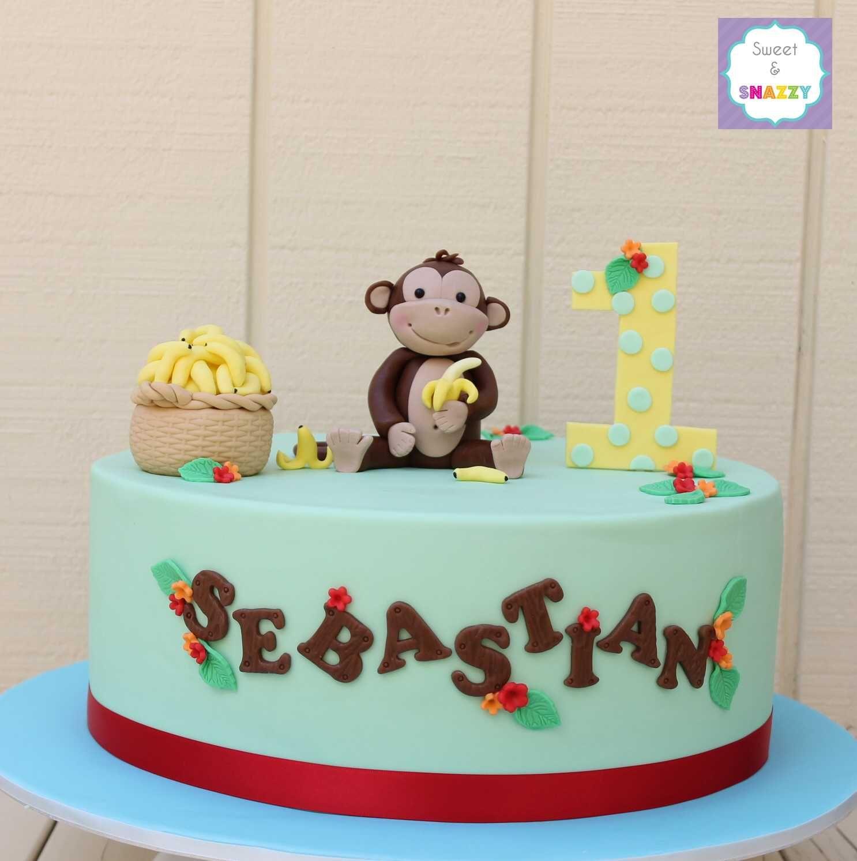 Enjoyable Cheeky Monkey 1St Birthday Cake By Sweet Snazzy With Monkey Personalised Birthday Cards Veneteletsinfo