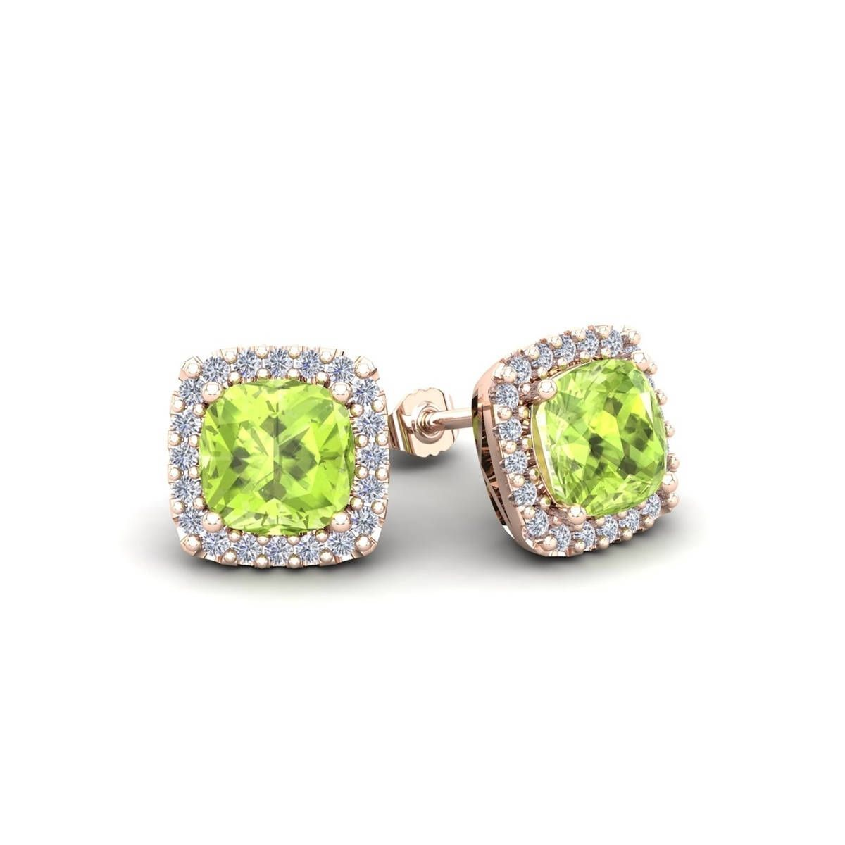 2 Carat Tgw Cushion Cut Peridot And Halo Diamond Stud Earrings In 14 Karat White Yellow Rose Gold