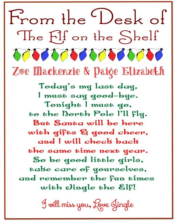 Our ElfS Goodbye Note  Elf On The Shelf    Elves