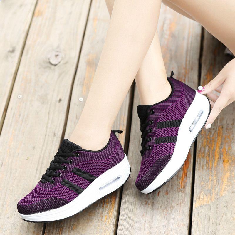 Modne Damskie Buty Wiosenne Letnie Siatkowe Podeszwy Kliny Chodzace Buty Kobieta 2018 Zasznurowane Casual Shoes Women Women Shoes Sport Shoes Fashion