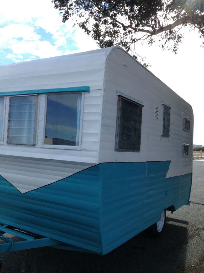 Vintage Travel Trailer 1958 Terry Turquoise  U0026 White  With Images