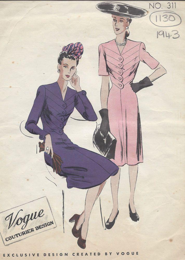 1943 WW2 Vintage VOGUE Sewing Pattern B30 DRESS (1130)   Pinterest