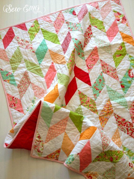 Herringbone Quilt- Baby Quilt- Wedding Quilt- Baby Girl's Nursery ... : nursery quilt fabric - Adamdwight.com